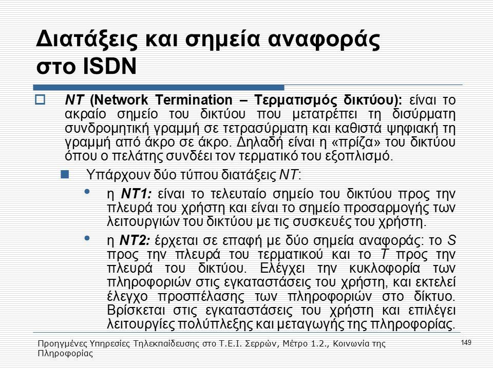 Προηγμένες Υπηρεσίες Τηλεκπαίδευσης στο Τ.Ε.Ι. Σερρών, Μέτρο 1.2., Κοινωνία της Πληροφορίας 149 Διατάξεις και σημεία αναφοράς στο ISDN  ΝΤ (Νetwork T