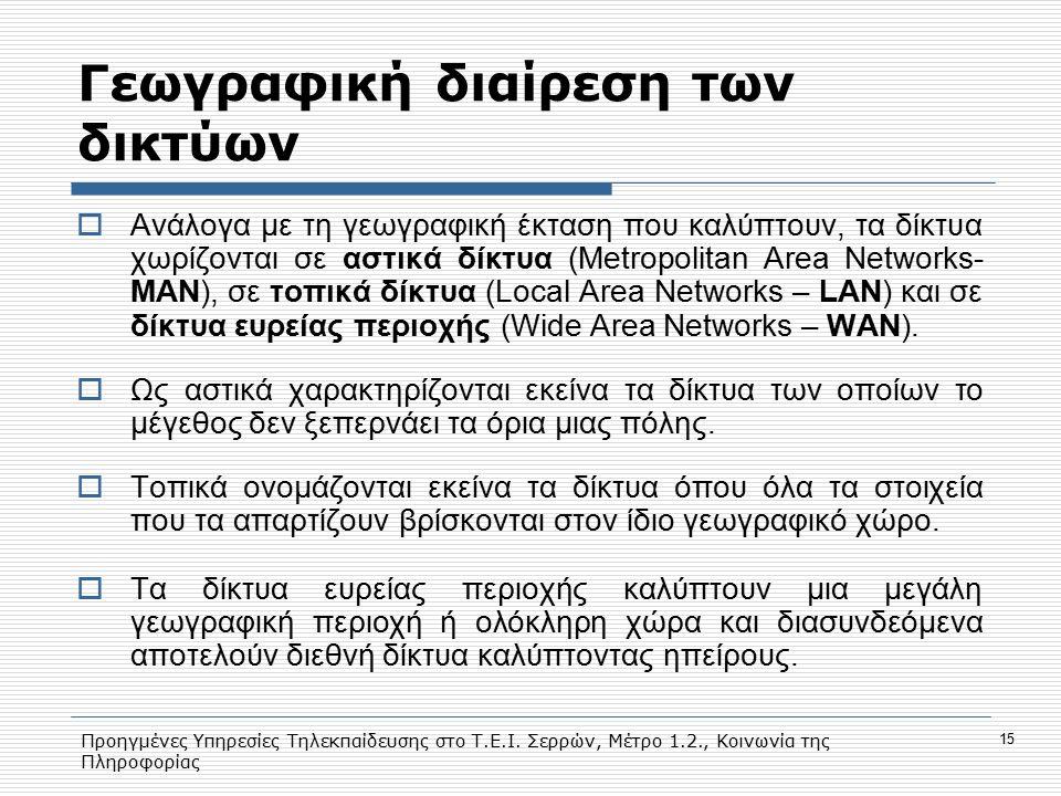 Προηγμένες Υπηρεσίες Τηλεκπαίδευσης στο Τ.Ε.Ι. Σερρών, Μέτρο 1.2., Κοινωνία της Πληροφορίας 15 Γεωγραφική διαίρεση των δικτύων  Ανάλογα με τη γεωγραφ
