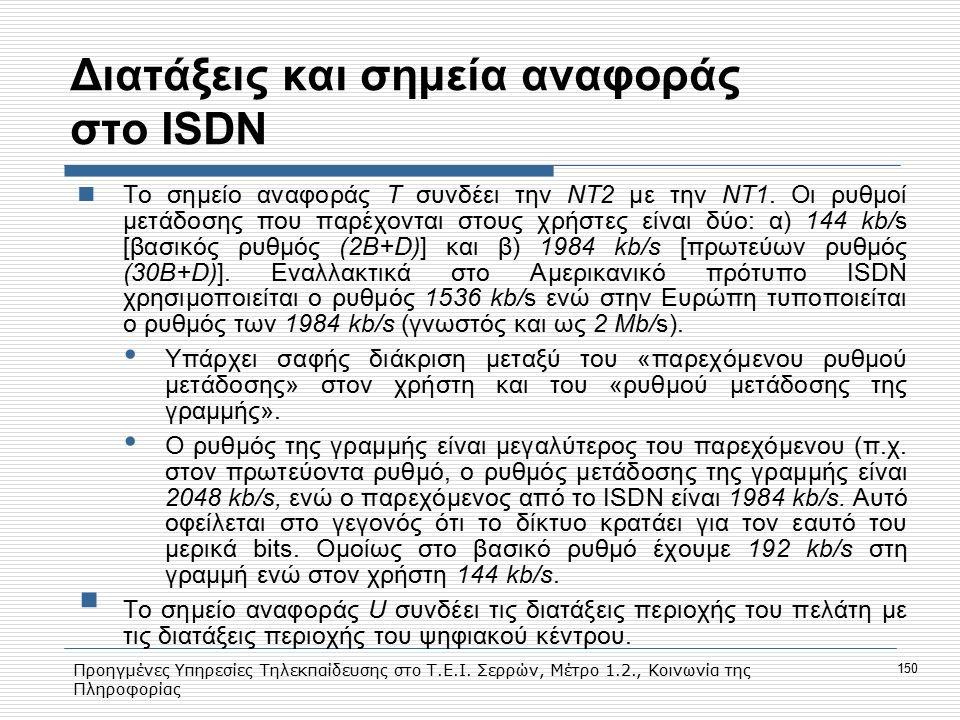 Προηγμένες Υπηρεσίες Τηλεκπαίδευσης στο Τ.Ε.Ι. Σερρών, Μέτρο 1.2., Κοινωνία της Πληροφορίας 150 Διατάξεις και σημεία αναφοράς στο ISDN To σημείο αναφο