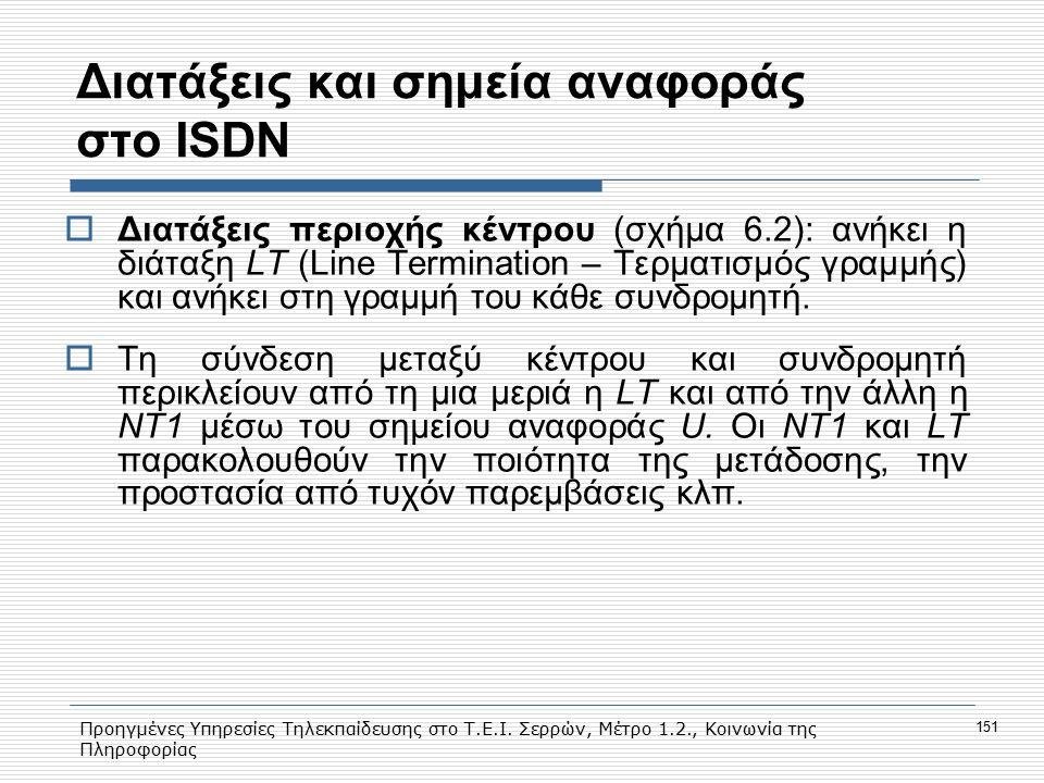 Προηγμένες Υπηρεσίες Τηλεκπαίδευσης στο Τ.Ε.Ι. Σερρών, Μέτρο 1.2., Κοινωνία της Πληροφορίας 151 Διατάξεις και σημεία αναφοράς στο ISDN  Διατάξεις περ