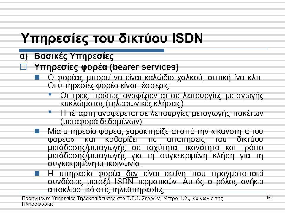 Προηγμένες Υπηρεσίες Τηλεκπαίδευσης στο Τ.Ε.Ι. Σερρών, Μέτρο 1.2., Κοινωνία της Πληροφορίας 162 Υπηρεσίες του δικτύου ISDN α)Bασικές Υπηρεσίες  Yπηρε