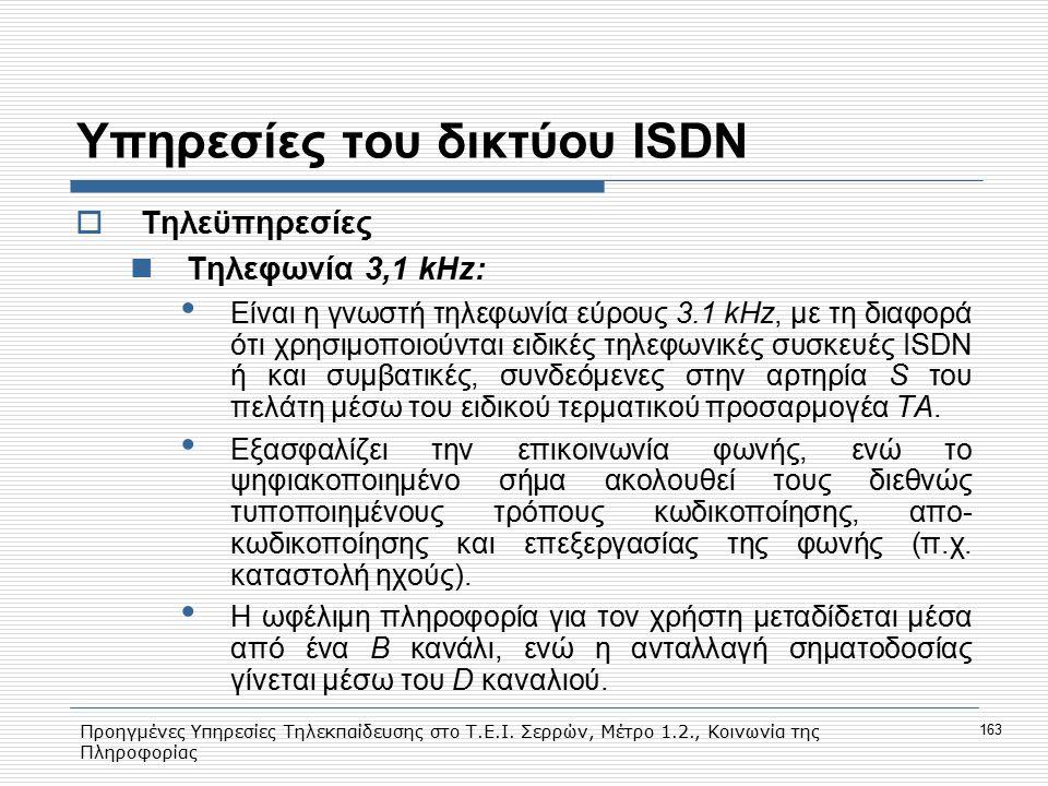 Προηγμένες Υπηρεσίες Τηλεκπαίδευσης στο Τ.Ε.Ι. Σερρών, Μέτρο 1.2., Κοινωνία της Πληροφορίας 163 Υπηρεσίες του δικτύου ISDN  Τηλεϋπηρεσίες Tηλεφωνία 3