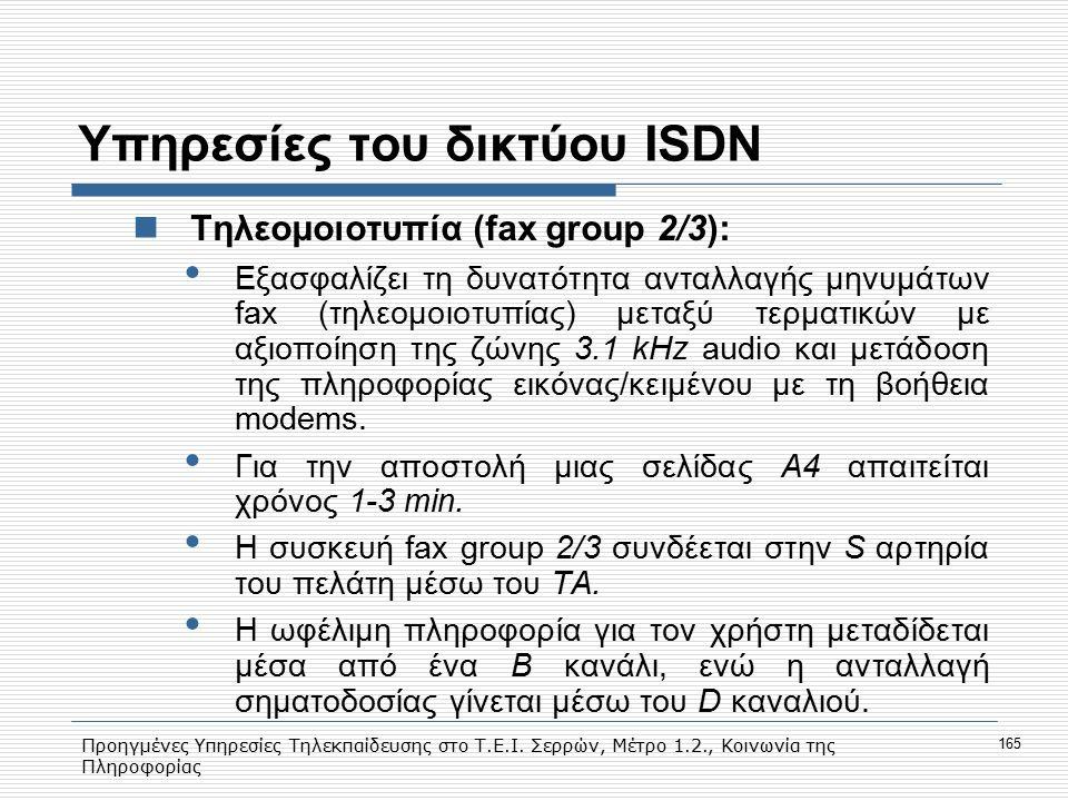 Προηγμένες Υπηρεσίες Τηλεκπαίδευσης στο Τ.Ε.Ι. Σερρών, Μέτρο 1.2., Κοινωνία της Πληροφορίας 165 Υπηρεσίες του δικτύου ISDN Tηλεομοιοτυπία (fax group 2