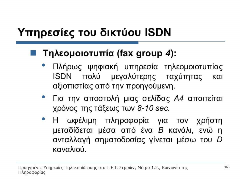 Προηγμένες Υπηρεσίες Τηλεκπαίδευσης στο Τ.Ε.Ι. Σερρών, Μέτρο 1.2., Κοινωνία της Πληροφορίας 166 Υπηρεσίες του δικτύου ISDN Tηλεομοιοτυπία (fax group 4