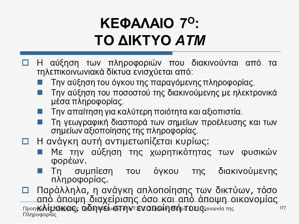 Προηγμένες Υπηρεσίες Τηλεκπαίδευσης στο Τ.Ε.Ι. Σερρών, Μέτρο 1.2., Κοινωνία της Πληροφορίας 177 ΚΕΦΑΛΑΙΟ 7 Ο : ΤΟ ΔΙΚΤΥΟ ΑΤΜ  Η αύξηση των πληροφοριώ