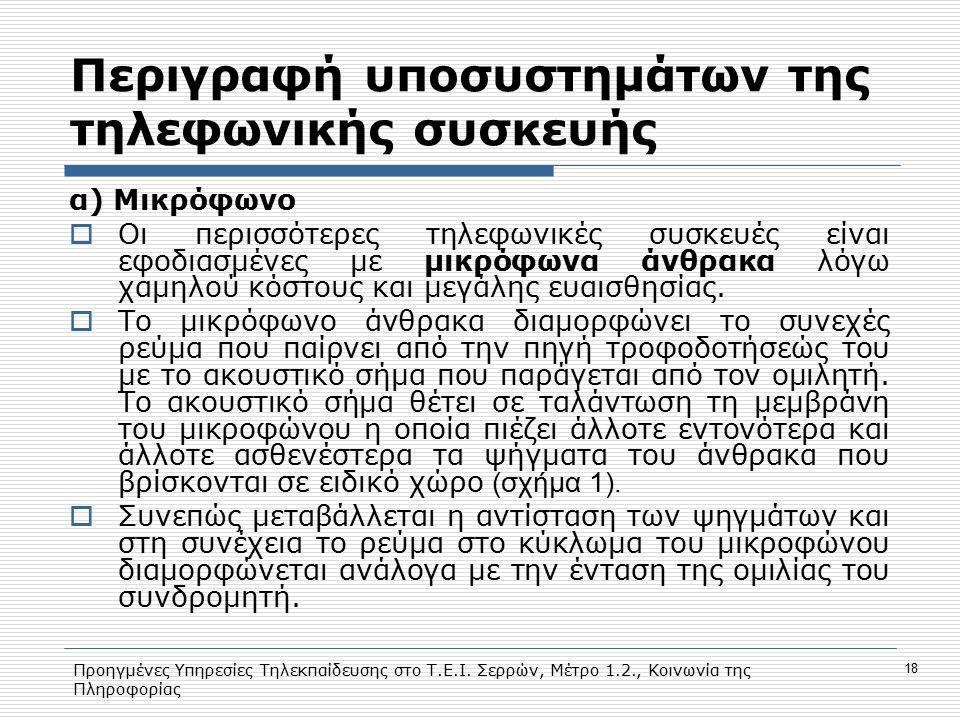 Προηγμένες Υπηρεσίες Τηλεκπαίδευσης στο Τ.Ε.Ι. Σερρών, Μέτρο 1.2., Κοινωνία της Πληροφορίας 18 Περιγραφή υποσυστημάτων της τηλεφωνικής συσκευής α) Μικ
