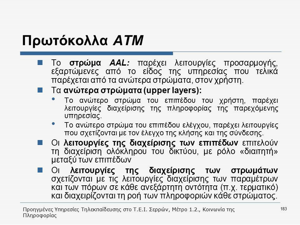 Προηγμένες Υπηρεσίες Τηλεκπαίδευσης στο Τ.Ε.Ι. Σερρών, Μέτρο 1.2., Κοινωνία της Πληροφορίας 183 Πρωτόκολλα ΑΤΜ Το στρώμα ΑΑL: παρέχει λειτουργίες προσ