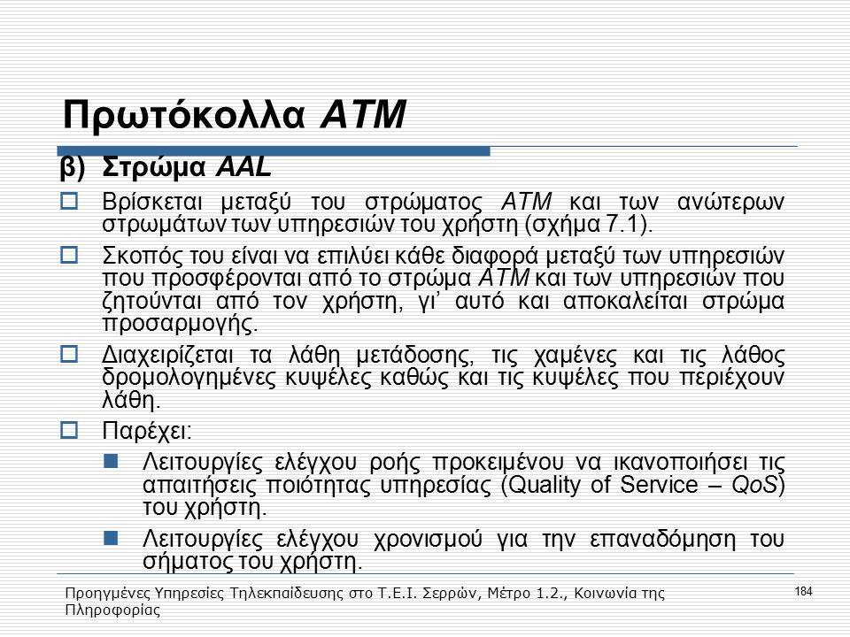 Προηγμένες Υπηρεσίες Τηλεκπαίδευσης στο Τ.Ε.Ι. Σερρών, Μέτρο 1.2., Κοινωνία της Πληροφορίας 184 Πρωτόκολλα ΑΤΜ β)Στρώμα ΑΑL  Βρίσκεται μεταξύ του στρ