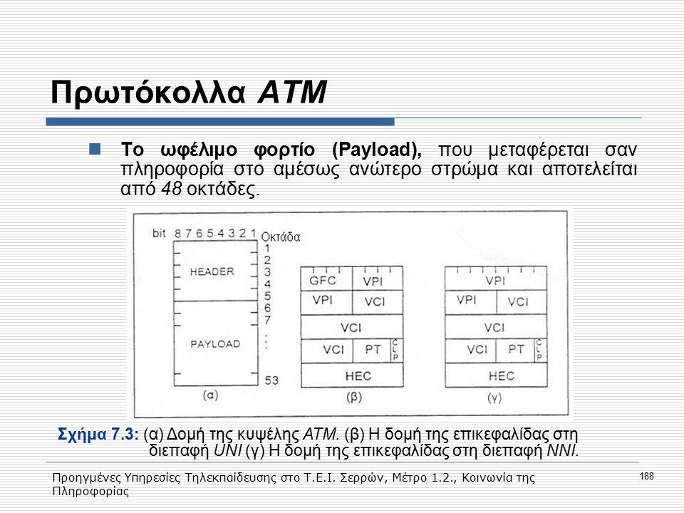 Προηγμένες Υπηρεσίες Τηλεκπαίδευσης στο Τ.Ε.Ι. Σερρών, Μέτρο 1.2., Κοινωνία της Πληροφορίας 188 Πρωτόκολλα ΑΤΜ Το ωφέλιμο φορτίο (Payload), που μεταφέ