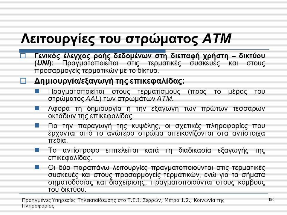 Προηγμένες Υπηρεσίες Τηλεκπαίδευσης στο Τ.Ε.Ι. Σερρών, Μέτρο 1.2., Κοινωνία της Πληροφορίας 190 Λειτουργίες του στρώματος ΑΤΜ  Γενικός έλεγχος ροής δ