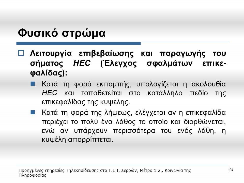 Προηγμένες Υπηρεσίες Τηλεκπαίδευσης στο Τ.Ε.Ι. Σερρών, Μέτρο 1.2., Κοινωνία της Πληροφορίας 194 Φυσικό στρώμα  Λειτουργία επιβεβαίωσης και παραγωγής