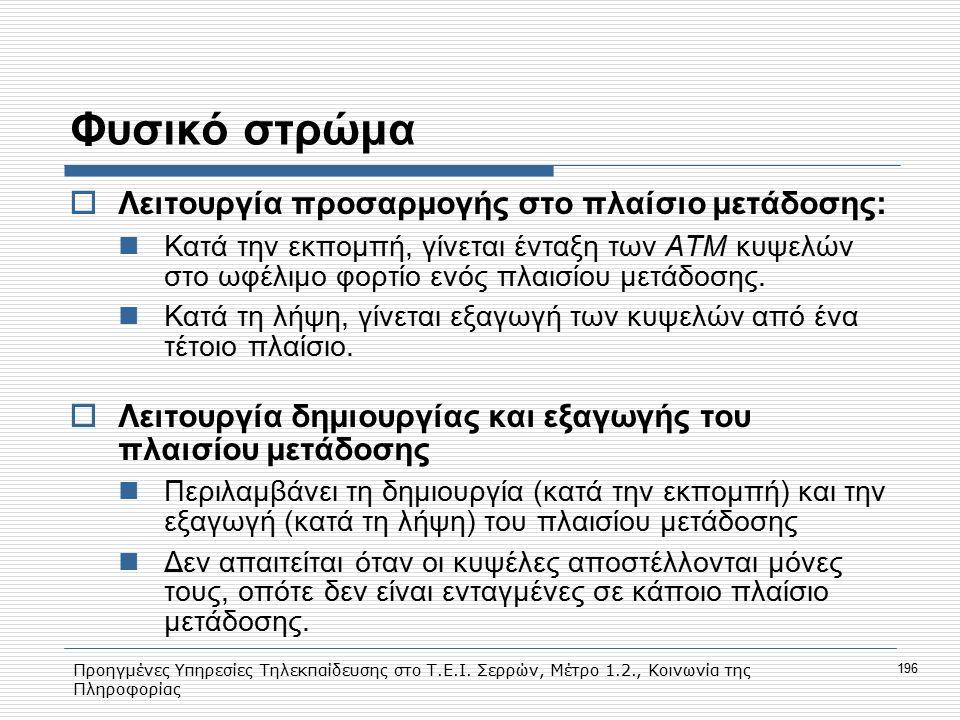 Προηγμένες Υπηρεσίες Τηλεκπαίδευσης στο Τ.Ε.Ι. Σερρών, Μέτρο 1.2., Κοινωνία της Πληροφορίας 196 Φυσικό στρώμα  Λειτουργία προσαρμογής στο πλαίσιο μετ