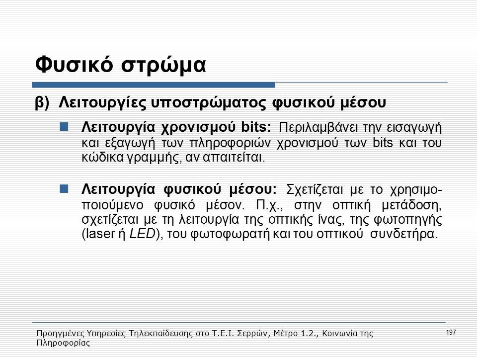 Προηγμένες Υπηρεσίες Τηλεκπαίδευσης στο Τ.Ε.Ι. Σερρών, Μέτρο 1.2., Κοινωνία της Πληροφορίας 197 Φυσικό στρώμα β)Λειτουργίες υποστρώματος φυσικού μέσου