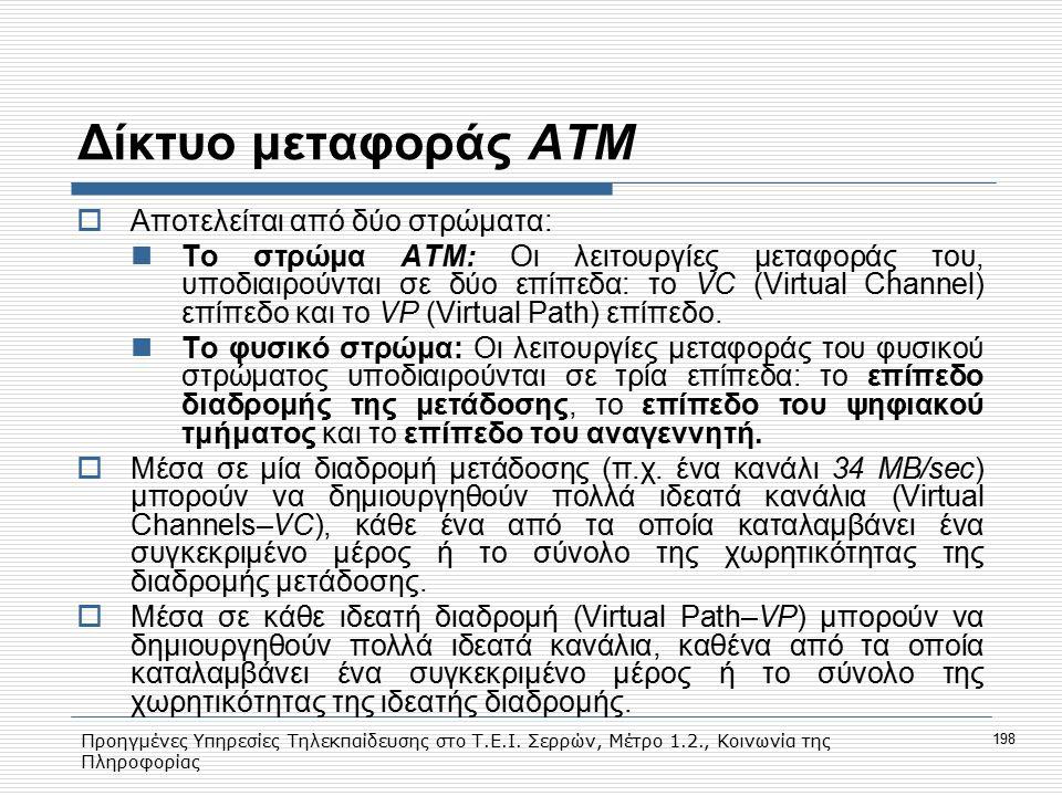 Προηγμένες Υπηρεσίες Τηλεκπαίδευσης στο Τ.Ε.Ι. Σερρών, Μέτρο 1.2., Κοινωνία της Πληροφορίας 198 Δίκτυο μεταφοράς ΑΤΜ  Αποτελείται από δύο στρώματα: T