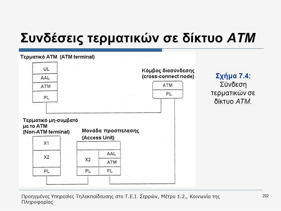 Προηγμένες Υπηρεσίες Τηλεκπαίδευσης στο Τ.Ε.Ι. Σερρών, Μέτρο 1.2., Κοινωνία της Πληροφορίας 202 Συνδέσεις τερματικών σε δίκτυο ΑΤΜ Σχήμα 7.4: Σύνδεση