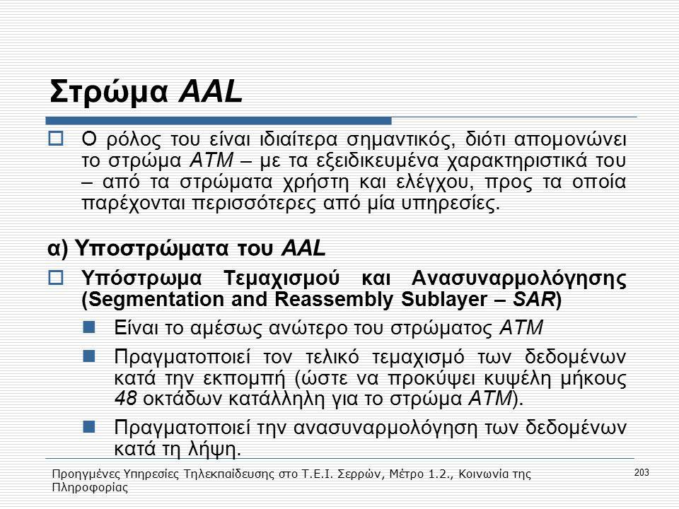 Προηγμένες Υπηρεσίες Τηλεκπαίδευσης στο Τ.Ε.Ι. Σερρών, Μέτρο 1.2., Κοινωνία της Πληροφορίας 203 Στρώμα ΑΑL  Ο ρόλος του είναι ιδιαίτερα σημαντικός, δ