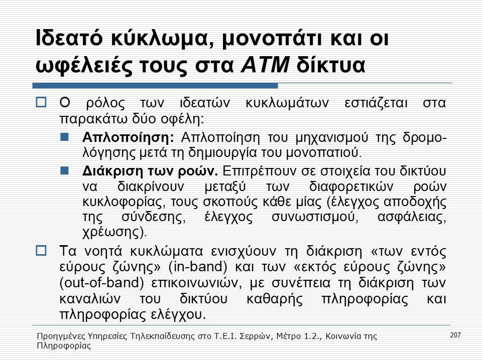 Προηγμένες Υπηρεσίες Τηλεκπαίδευσης στο Τ.Ε.Ι. Σερρών, Μέτρο 1.2., Κοινωνία της Πληροφορίας 207 Iδεατό κύκλωμα, μονοπάτι και οι ωφέλειές τους στα ΑΤΜ