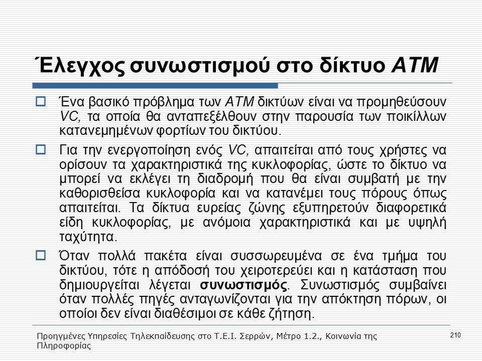 Προηγμένες Υπηρεσίες Τηλεκπαίδευσης στο Τ.Ε.Ι. Σερρών, Μέτρο 1.2., Κοινωνία της Πληροφορίας 210 Έλεγχος συνωστισμού στο δίκτυο ΑΤΜ  Ένα βασικό πρόβλη