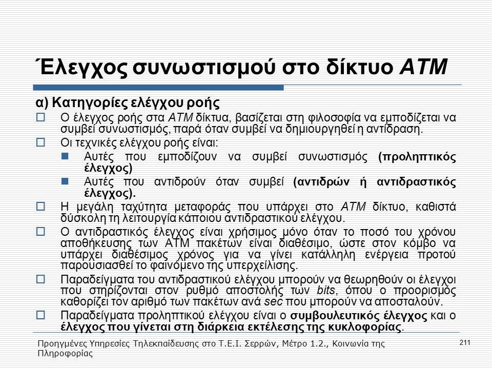 Προηγμένες Υπηρεσίες Τηλεκπαίδευσης στο Τ.Ε.Ι. Σερρών, Μέτρο 1.2., Κοινωνία της Πληροφορίας 211 Έλεγχος συνωστισμού στο δίκτυο ΑΤΜ α) Κατηγορίες ελέγχ