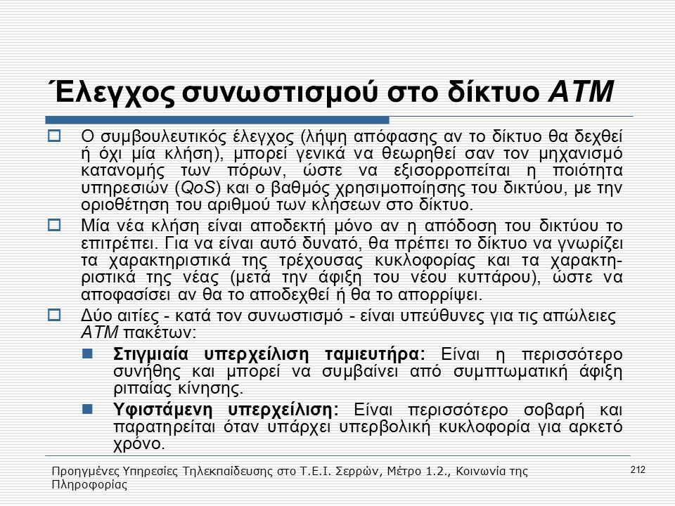 Προηγμένες Υπηρεσίες Τηλεκπαίδευσης στο Τ.Ε.Ι. Σερρών, Μέτρο 1.2., Κοινωνία της Πληροφορίας 212 Έλεγχος συνωστισμού στο δίκτυο ΑΤΜ  Ο συμβουλευτικός