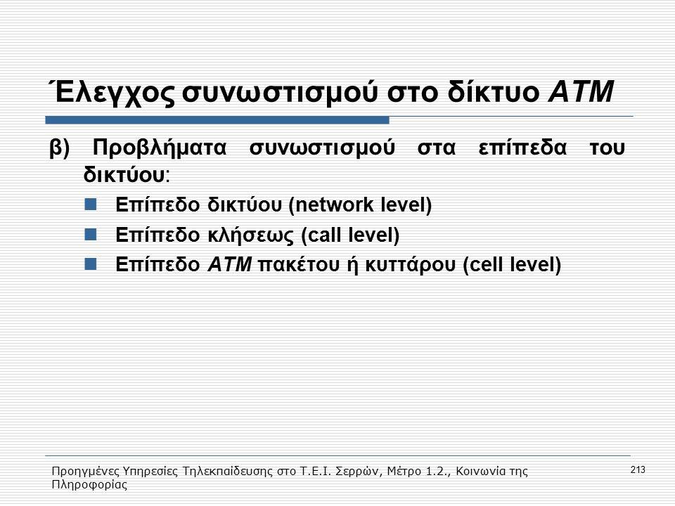 Προηγμένες Υπηρεσίες Τηλεκπαίδευσης στο Τ.Ε.Ι. Σερρών, Μέτρο 1.2., Κοινωνία της Πληροφορίας 213 Έλεγχος συνωστισμού στο δίκτυο ΑΤΜ β) Προβλήματα συνωσ
