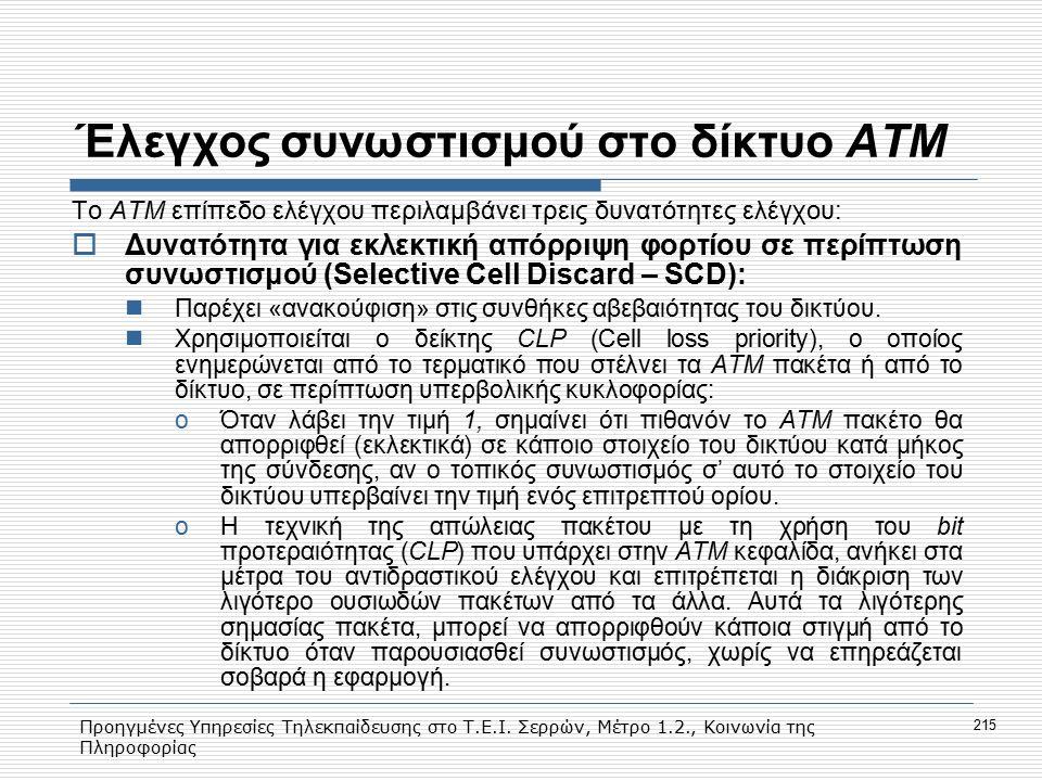 Προηγμένες Υπηρεσίες Τηλεκπαίδευσης στο Τ.Ε.Ι. Σερρών, Μέτρο 1.2., Κοινωνία της Πληροφορίας 215 Έλεγχος συνωστισμού στο δίκτυο ΑΤΜ Το ΑΤΜ επίπεδο ελέγ