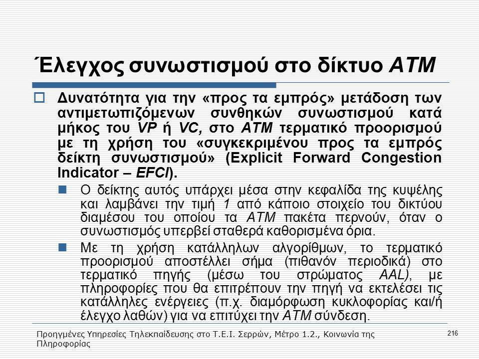 Προηγμένες Υπηρεσίες Τηλεκπαίδευσης στο Τ.Ε.Ι. Σερρών, Μέτρο 1.2., Κοινωνία της Πληροφορίας 216 Έλεγχος συνωστισμού στο δίκτυο ΑΤΜ  Δυνατότητα για τη