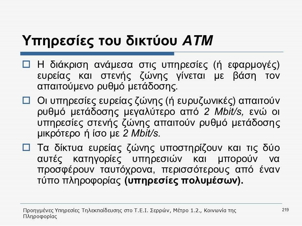 Προηγμένες Υπηρεσίες Τηλεκπαίδευσης στο Τ.Ε.Ι. Σερρών, Μέτρο 1.2., Κοινωνία της Πληροφορίας 219 Υπηρεσίες του δικτύου ΑΤΜ  Η διάκριση ανάμεσα στις υπ