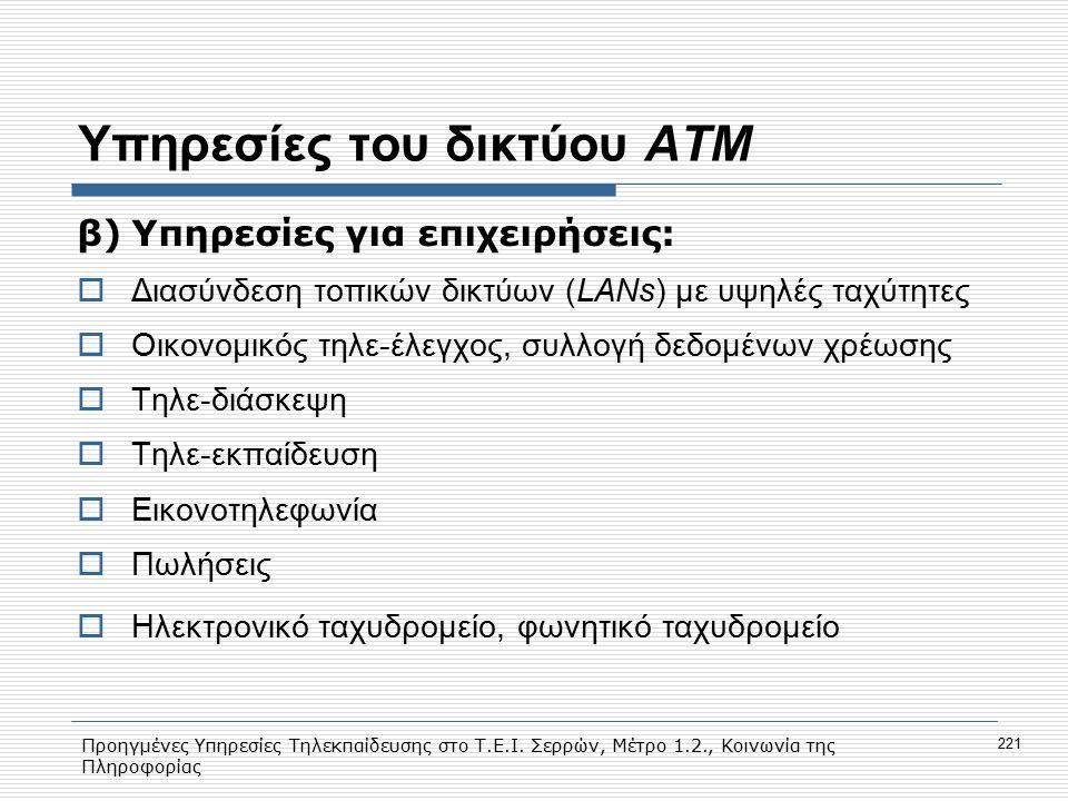 Προηγμένες Υπηρεσίες Τηλεκπαίδευσης στο Τ.Ε.Ι. Σερρών, Μέτρο 1.2., Κοινωνία της Πληροφορίας 221 Υπηρεσίες του δικτύου ΑΤΜ β)Υπηρεσίες για επιχειρήσεις