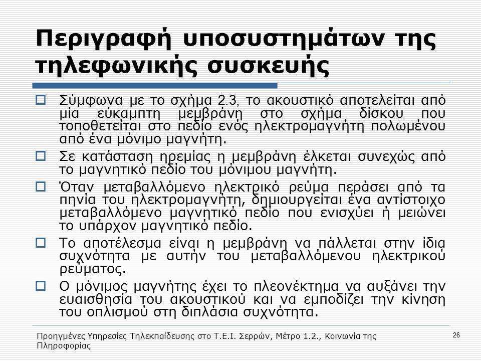 Προηγμένες Υπηρεσίες Τηλεκπαίδευσης στο Τ.Ε.Ι. Σερρών, Μέτρο 1.2., Κοινωνία της Πληροφορίας 26 Περιγραφή υποσυστημάτων της τηλεφωνικής συσκευής  Σύμφ