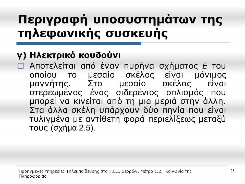 Προηγμένες Υπηρεσίες Τηλεκπαίδευσης στο Τ.Ε.Ι. Σερρών, Μέτρο 1.2., Κοινωνία της Πληροφορίας 28 Περιγραφή υποσυστημάτων της τηλεφωνικής συσκευής γ) Ηλε
