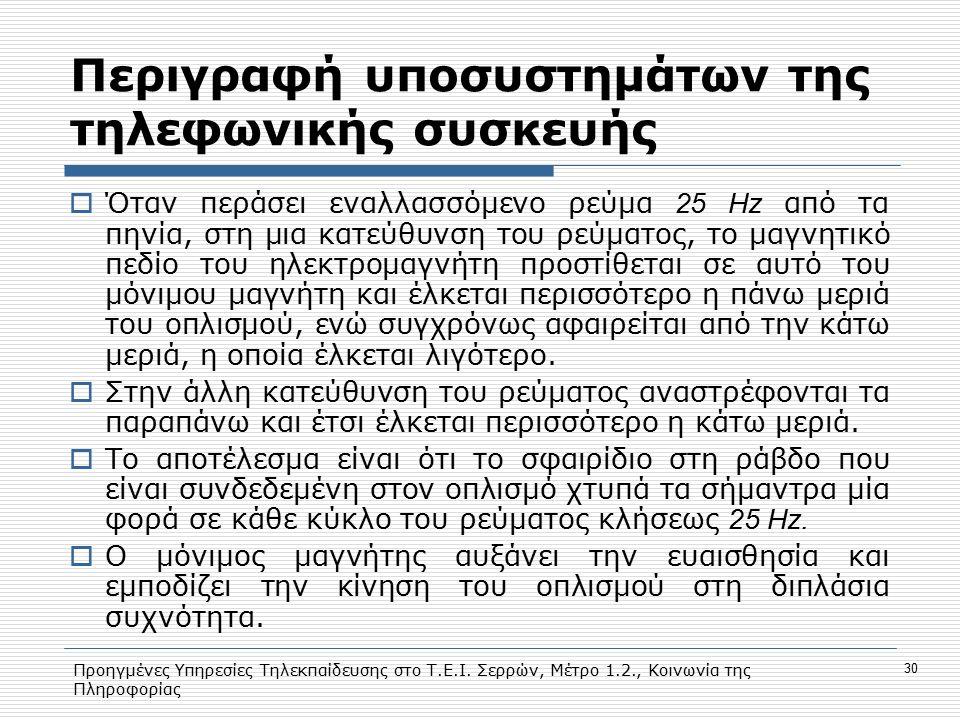 Προηγμένες Υπηρεσίες Τηλεκπαίδευσης στο Τ.Ε.Ι. Σερρών, Μέτρο 1.2., Κοινωνία της Πληροφορίας 30 Περιγραφή υποσυστημάτων της τηλεφωνικής συσκευής  Όταν