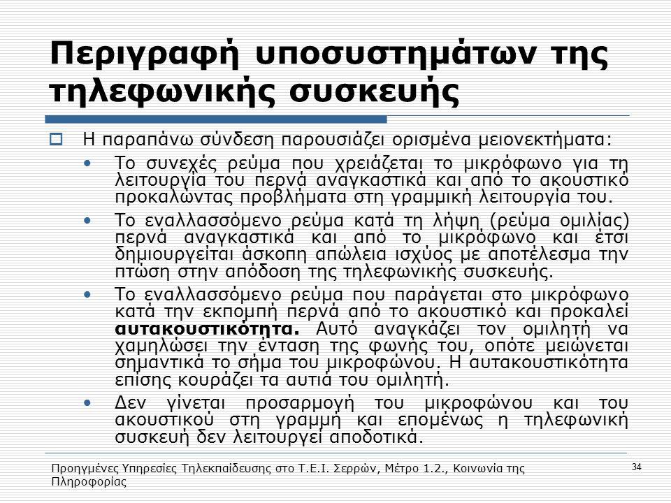 Προηγμένες Υπηρεσίες Τηλεκπαίδευσης στο Τ.Ε.Ι. Σερρών, Μέτρο 1.2., Κοινωνία της Πληροφορίας 34 Περιγραφή υποσυστημάτων της τηλεφωνικής συσκευής  Η πα