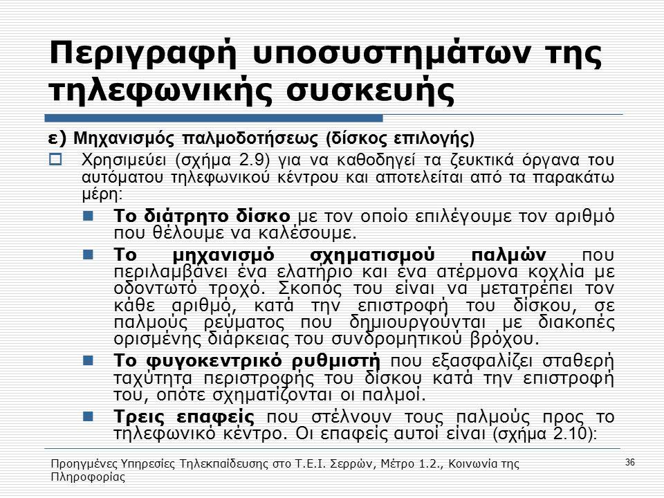 Προηγμένες Υπηρεσίες Τηλεκπαίδευσης στο Τ.Ε.Ι. Σερρών, Μέτρο 1.2., Κοινωνία της Πληροφορίας 36 Περιγραφή υποσυστημάτων της τηλεφωνικής συσκευής ε) Μηχ