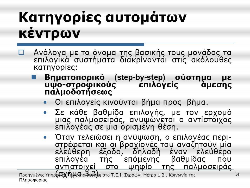 Προηγμένες Υπηρεσίες Τηλεκπαίδευσης στο Τ.Ε.Ι. Σερρών, Μέτρο 1.2., Κοινωνία της Πληροφορίας 54 Κατηγορίες αυτομάτων κέντρων  Ανάλογα με το όνομα της