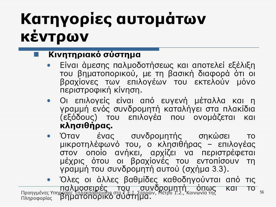 Προηγμένες Υπηρεσίες Τηλεκπαίδευσης στο Τ.Ε.Ι. Σερρών, Μέτρο 1.2., Κοινωνία της Πληροφορίας 56 Κατηγορίες αυτομάτων κέντρων Κινητηριακό σύστημα Είναι