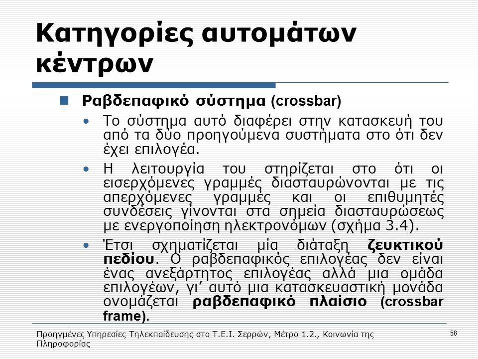 Προηγμένες Υπηρεσίες Τηλεκπαίδευσης στο Τ.Ε.Ι. Σερρών, Μέτρο 1.2., Κοινωνία της Πληροφορίας 58 Κατηγορίες αυτομάτων κέντρων Ραβδεπαφικό σύστημα (cross