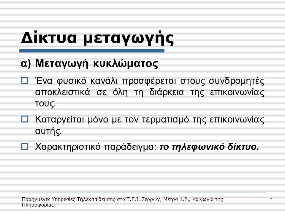 Προηγμένες Υπηρεσίες Τηλεκπαίδευσης στο Τ.Ε.Ι. Σερρών, Μέτρο 1.2., Κοινωνία της Πληροφορίας 6 Δίκτυα μεταγωγής α)Μεταγωγή κυκλώματος  Ένα φυσικό κανά