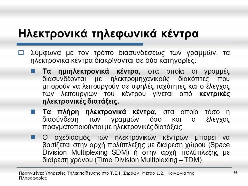 Προηγμένες Υπηρεσίες Τηλεκπαίδευσης στο Τ.Ε.Ι. Σερρών, Μέτρο 1.2., Κοινωνία της Πληροφορίας 66 Hλεκτρονικά τηλεφωνικά κέντρα  Σύμφωνα με τον τρόπο δι