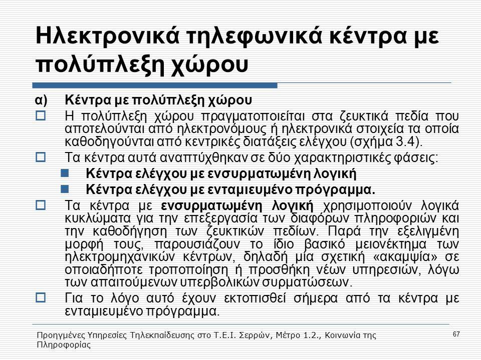 Προηγμένες Υπηρεσίες Τηλεκπαίδευσης στο Τ.Ε.Ι. Σερρών, Μέτρο 1.2., Κοινωνία της Πληροφορίας 67 Hλεκτρονικά τηλεφωνικά κέντρα με πολύπλεξη χώρου α)Kέντ