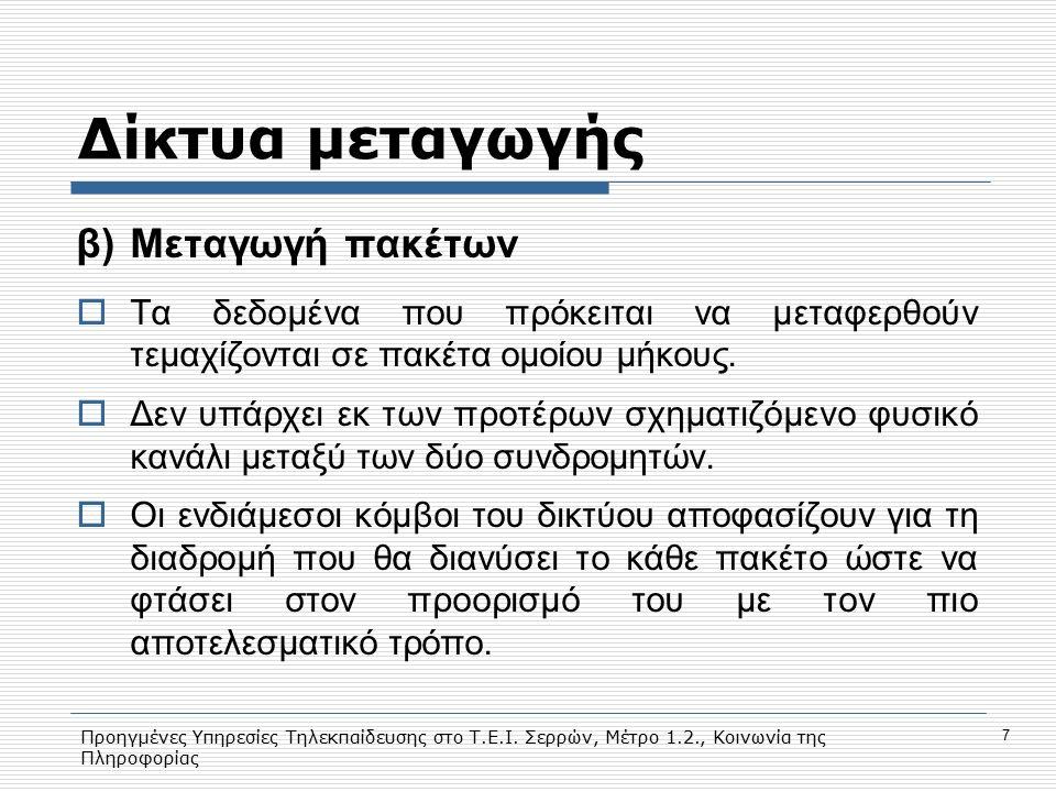 Προηγμένες Υπηρεσίες Τηλεκπαίδευσης στο Τ.Ε.Ι. Σερρών, Μέτρο 1.2., Κοινωνία της Πληροφορίας 7 Δίκτυα μεταγωγής β)Μεταγωγή πακέτων  Τα δεδομένα που πρ