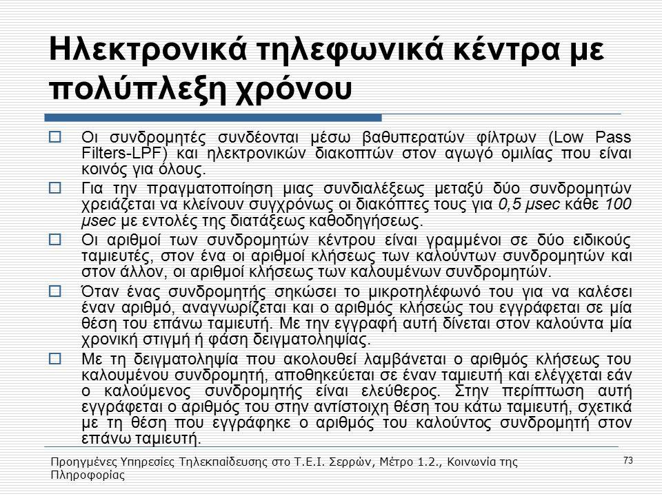 Προηγμένες Υπηρεσίες Τηλεκπαίδευσης στο Τ.Ε.Ι. Σερρών, Μέτρο 1.2., Κοινωνία της Πληροφορίας 73 Hλεκτρονικά τηλεφωνικά κέντρα με πολύπλεξη χρόνου  Οι
