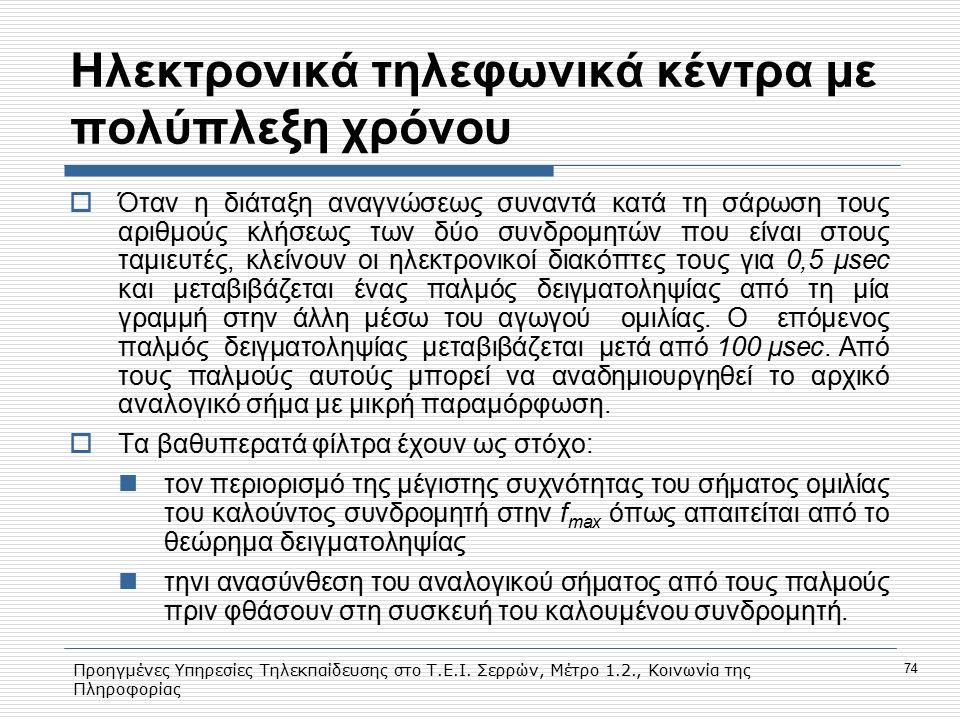 Προηγμένες Υπηρεσίες Τηλεκπαίδευσης στο Τ.Ε.Ι. Σερρών, Μέτρο 1.2., Κοινωνία της Πληροφορίας 74 Hλεκτρονικά τηλεφωνικά κέντρα με πολύπλεξη χρόνου  Ότα