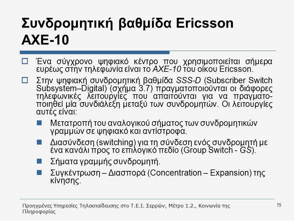 Προηγμένες Υπηρεσίες Τηλεκπαίδευσης στο Τ.Ε.Ι. Σερρών, Μέτρο 1.2., Κοινωνία της Πληροφορίας 75 Συνδρομητική βαθμίδα Εricsson AXE-10  Ένα σύγχρονο ψηφ