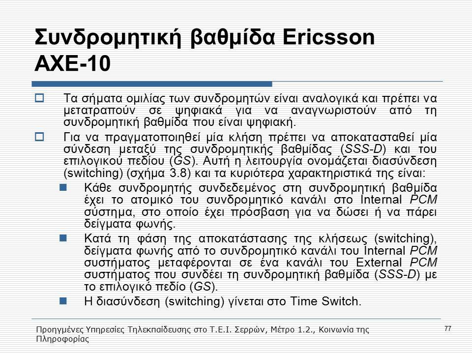 Προηγμένες Υπηρεσίες Τηλεκπαίδευσης στο Τ.Ε.Ι. Σερρών, Μέτρο 1.2., Κοινωνία της Πληροφορίας 77 Συνδρομητική βαθμίδα Εricsson AXE-10  Tα σήματα ομιλία