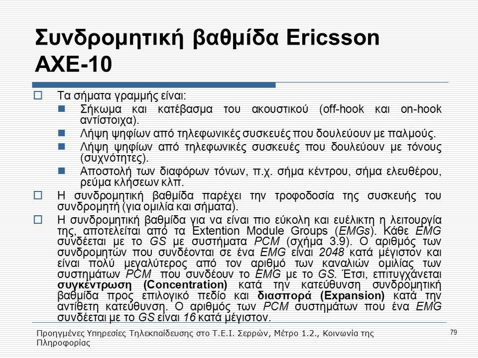 Προηγμένες Υπηρεσίες Τηλεκπαίδευσης στο Τ.Ε.Ι. Σερρών, Μέτρο 1.2., Κοινωνία της Πληροφορίας 79 Συνδρομητική βαθμίδα Εricsson AXE-10  Tα σήματα γραμμή