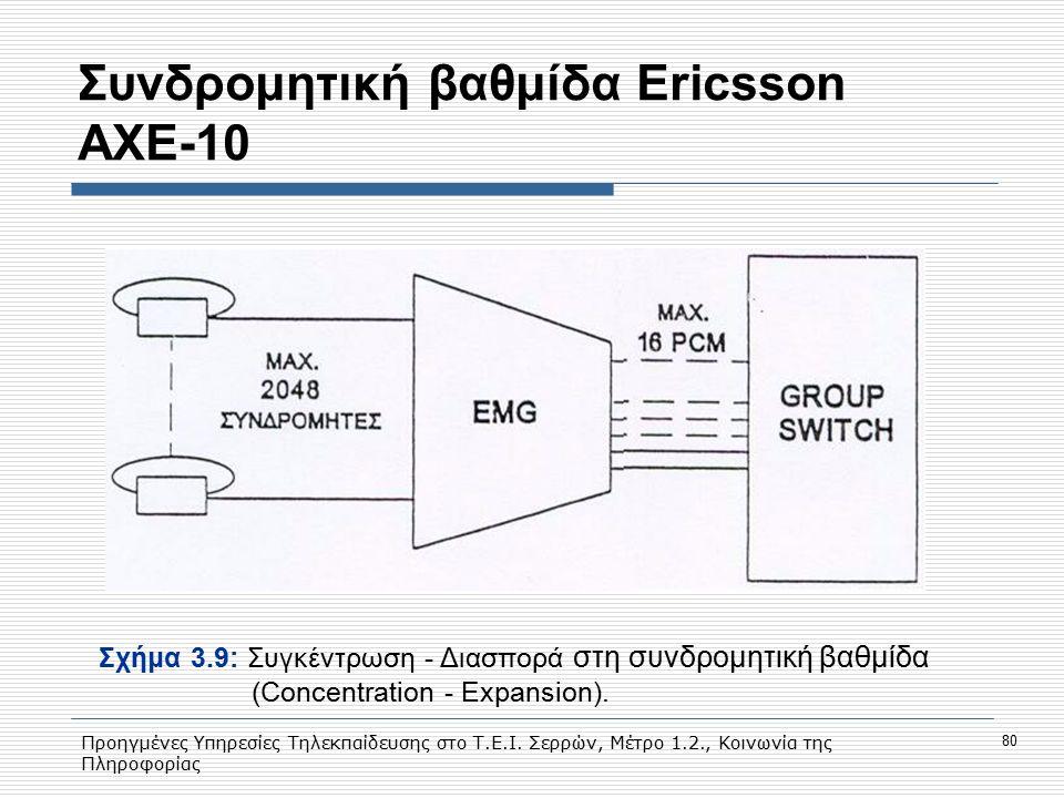 Προηγμένες Υπηρεσίες Τηλεκπαίδευσης στο Τ.Ε.Ι. Σερρών, Μέτρο 1.2., Κοινωνία της Πληροφορίας 80 Συνδρομητική βαθμίδα Εricsson AXE-10 Σχήμα 3.9: Συγκέντ