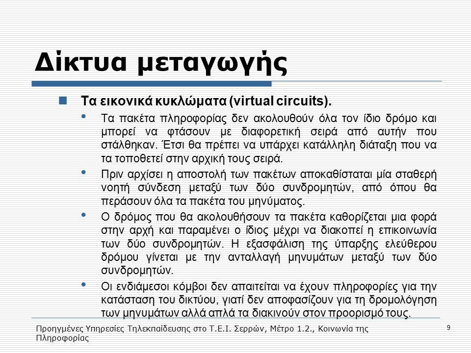 Προηγμένες Υπηρεσίες Τηλεκπαίδευσης στο Τ.Ε.Ι. Σερρών, Μέτρο 1.2., Κοινωνία της Πληροφορίας 9 Δίκτυα μεταγωγής Τα εικονικά κυκλώματα (virtual circuits