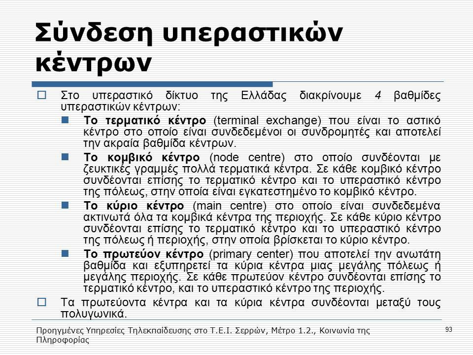 Προηγμένες Υπηρεσίες Τηλεκπαίδευσης στο Τ.Ε.Ι. Σερρών, Μέτρο 1.2., Κοινωνία της Πληροφορίας 93 Σύνδεση υπεραστικών κέντρων  Στο υπεραστικό δίκτυο της