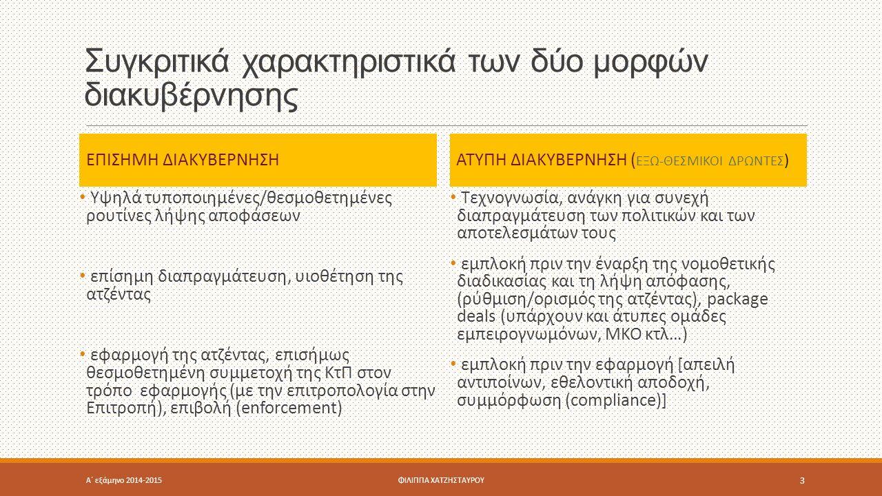 Συγκριτικά χαρακτηριστικά των δύο μορφών διακυβέρνησης ΕΠΙΣΗΜΗ ΔΙΑΚΥΒΕΡΝΗΣΗ Υψηλά τυποποιημένες/θεσμοθετημένες ρουτίνες λήψης αποφάσεων επίσημη διαπραγμάτευση, υιοθέτηση της ατζέντας εφαρμογή της ατζέντας, επισήμως θεσμοθετημένη συμμετοχή της ΚτΠ στον τρόπο εφαρμογής (με την επιτροπολογία στην Επιτροπή), επιβολή (enforcement) ΑΤΥΠΗ ΔΙΑΚΥΒΕΡΝΗΣΗ ( ΕΞΩ-ΘΕΣΜΙΚΟΙ ΔΡΩΝΤΕΣ ) Τεχνογνωσία, ανάγκη για συνεχή διαπραγμάτευση των πολιτικών και των αποτελεσμάτων τους εμπλοκή πριν την έναρξη της νομοθετικής διαδικασίας και τη λήψη απόφασης, (ρύθμιση/ορισμός της ατζέντας), package deals (υπάρχουν και άτυπες ομάδες εμπειρογνωμόνων, ΜΚΟ κτλ…) εμπλοκή πριν την εφαρμογή [απειλή αντιποίνων, εθελοντική αποδοχή, συμμόρφωση (compliance)] Α΄ εξάμηνο 2014-2015ΦΙΛΙΠΠΑ ΧΑΤΖΗΣΤΑΥΡΟΥ 3
